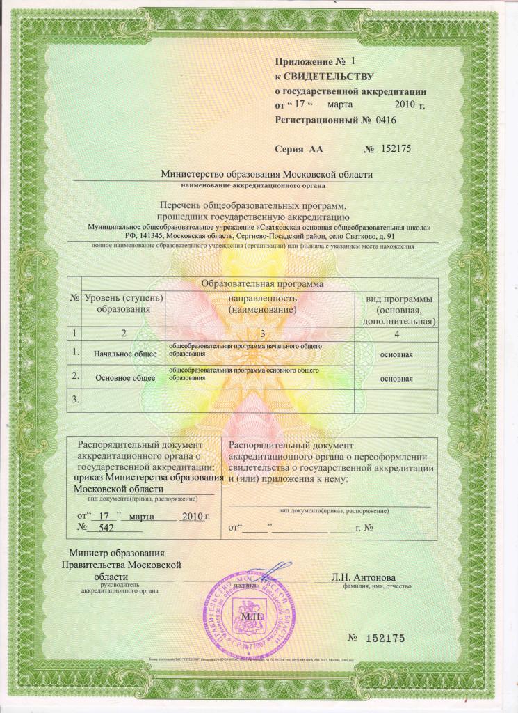 Свидетельство о государственной аккредитации -2